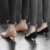 貓跟鞋女矮跟新款淺口高跟鞋尖頭絨面黑色低跟單鞋女3cm 晴天時尚館
