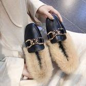 毛毛鞋女秋冬款加絨兔毛鞋百搭懶人保暖豆豆鞋小皮鞋平底單鞋棉鞋-大小姐韓風館