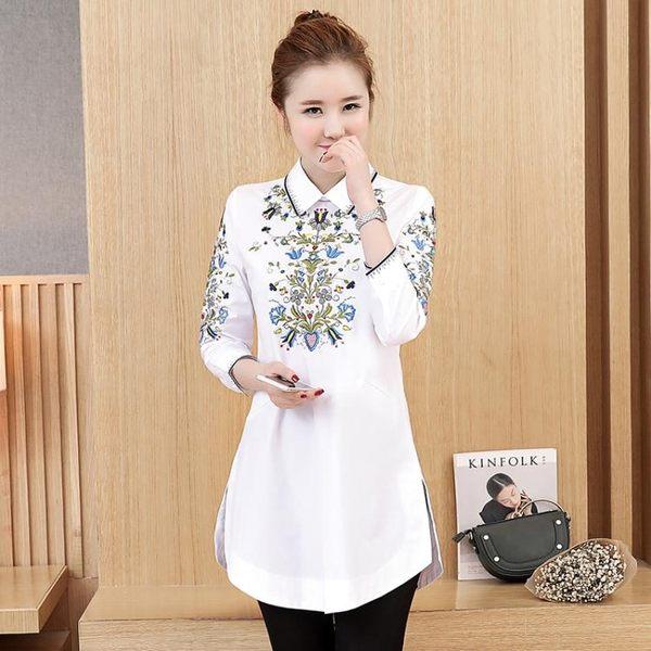 新款民族風花卉刺繡襯衫女翻領七分袖上衣LJ3552『miss洛羽』