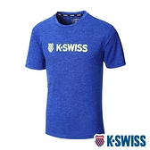 K-SWISS Whs Basic Logo Tee排汗T恤-男-寶藍