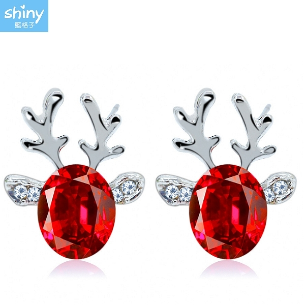 【23A86】shiny藍格子-奢華閃亮.立體聖誕馴鹿水晶寶石鹿角耳環