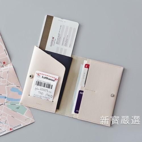 護照包 收納包正韓簡約氣質仿皮短款護照夾時尚男女旅行證件包【快速出貨】