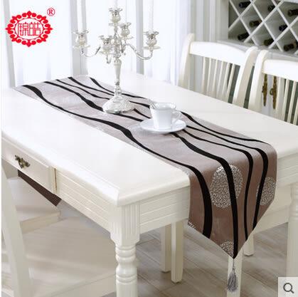桌旗中式燙金條紋桌布餐桌布茶几布藝現代時尚簡約床旗蓋布