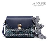 側背包 彩色粗花呢兔子吊飾小方包-La Poupee樂芙比質感包飾 (現貨)