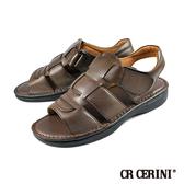 【CR CERINI】輕量氣墊式真皮涼鞋 深咖(55182-DBR)