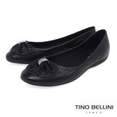 Tino Bellini 巴西進口鑽飾寬版蛇紋領結平底娃娃鞋 _ 黑 TF8513 歐洲進口款