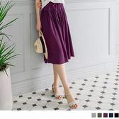 《BA2219》素色腰鬆緊綁帶寬版褲裙.5色 OrangeBear
