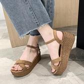 坡跟涼鞋女2021年夏季新款交叉一字扣帶防水臺鬆糕厚底高跟羅馬鞋 夏季狂歡