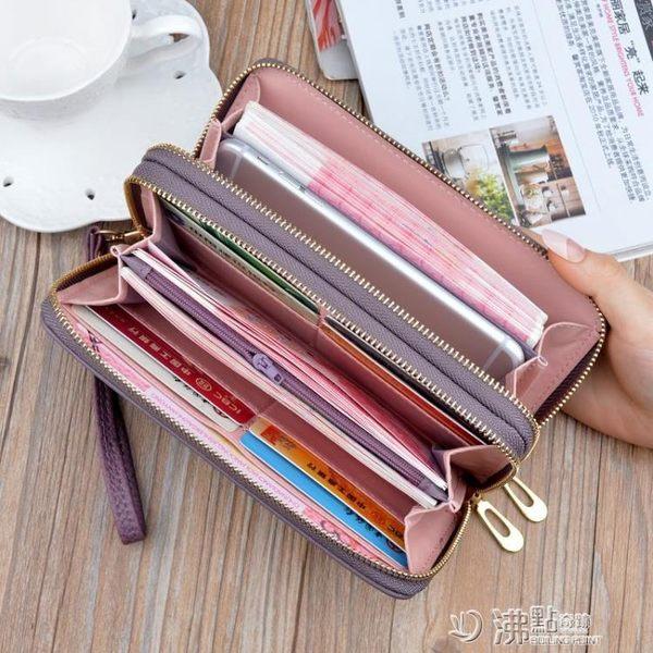 新款歐美女士錢包女長款女式多功能皮夾子女款雙拉鏈手拿包錢夾潮 沸點奇跡