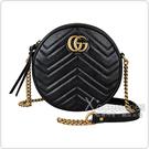 GUCCI MARMONT經典雙G金屬LOGO圓形設計牛皮W字紋鏈帶拉鍊斜背包(黑)