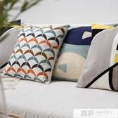海洋主題抱枕靠墊樣板間抱枕沙發靠枕頭可愛刺繡抱枕套滿繡匠心造