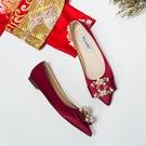 鞋子女新娘婚鞋平底水晶鞋女紅