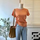 短袖t恤女夏小眾設計感不規則收腰修身顯瘦體恤上衣【左岸男裝】