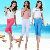 實拍2021女夏季新款韓版潮流糖果彩色修身顯瘦牛仔七分褲小腳褲女 快速出貨