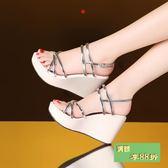 涼鞋女新款高跟平底坡跟防潑水台百搭女鞋韓版時尚學生大尺碼女涼鞋