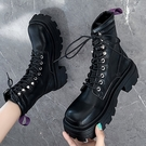 PAPORA方頭個性舒適厚底增高馬丁騎士中筒靴長靴 KK5009 黑