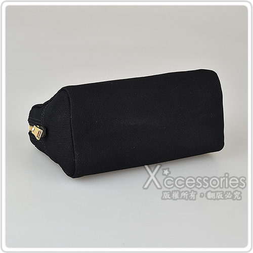 PRADA CANAPA印花LOGO帆布三角設計拉鍊手拿化妝包(兩色)