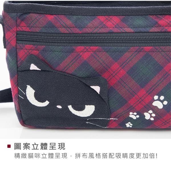 Kiro貓 小黑貓 格紋 休閒 拼布包/小斜背包/側背包【810110】