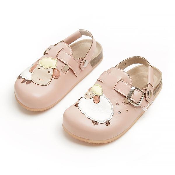 【Jingle】快樂小綿羊前包後空軟木休閒鞋(甜美粉兒童款)