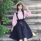 連身裙.連身裙女新款顯瘦學生夏裝燈籠袖打底衫裙子高腰背帶兩件套..花戀小鋪