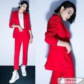 紅色職業西服套裝女韓國顯瘦時尚帥氣小西裝外套九分褲兩件套潮