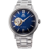 ORIENT東方 開芯小鏤空機械錶-藍x銀/40.5mm RA-AG0028L