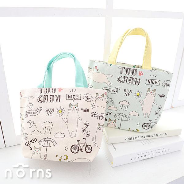 【日貨動物手提袋M號 Taachan貓P1】Norns 日本雜貨 貓咪帆布袋 nya便當袋 帆布包