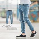 縮口褲 淺藍刷色微破抽繩束口牛仔褲【N9...