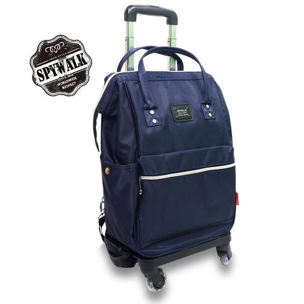 拉桿旅行後背包 SPYWALK專利可拆式防水斜紋布360度大輪拉桿電腦流行後背包 加大款 NO:S7017