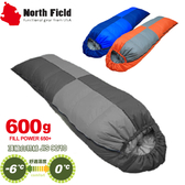 【North Field美國信封型立體隔間90/10羽絨600g 睡袋】NDSD406/登山露營/四季款/睡袋