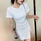 中長版上衣 潮T恤 時尚拉鏈修身顯瘦兩穿T恤連身裙潮9108aH466依佳衣