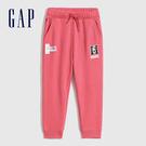 Gap女幼童 Gap x Disney 迪士尼系列印花刷毛休閒褲 732030-粉色