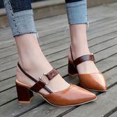 尖頭高跟鞋女2019夏季新款韓版百搭中空羅馬鞋復古包頭粗跟涼鞋子