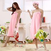 浴袍-可穿浴巾女款比吸水抹胸浴袍美容院汗蒸服厚裹胸浴衣睡衣浴裙