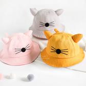 可愛老鼠耳+尾巴造型遮陽帽 遮陽帽 防曬帽 童帽 帽子 漁夫帽