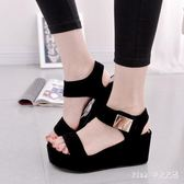 中大尺碼 夏季韓版女款休閒時尚涼鞋高跟坡跟羅馬潮鞋女鞋 qz285【Pink中大尺碼】