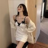 蝴蝶結吊帶連身裙女裝春秋緊身修身包臀短裙2021新款內搭打底裙子 童趣屋