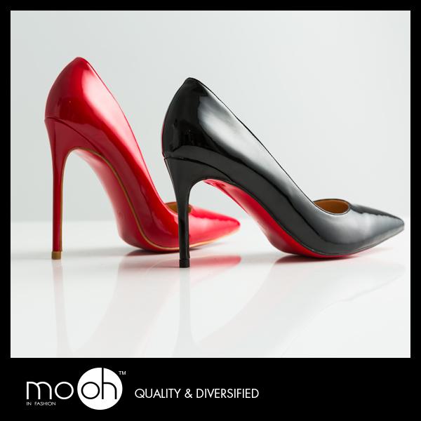 紅色高跟鞋 婚鞋 尖頭 細跟 真皮 漆皮 高跟鞋  mo.oh (歐美鞋款)