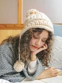 韓版加絨針織雷鋒帽子女冬護耳毛球帽 萬客居