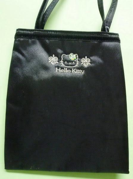 【震撼精品百貨】Hello Kitty 凱蒂貓~手提袋『黑底珠珠玫瑰花』M