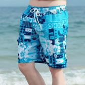 夏季沙灘褲男休閒薄款花短褲男士速乾游泳褲海邊度假時尚大叉褲 〖米娜小鋪〗