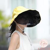 空頂遮陽帽女夏季休閒防紫外線大檐遮臉防曬面罩太陽帽【大碼百分百】