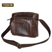 【TROOP】頂級造皮FAUX LEATHER單肩包/TLL007DB(深棕色)
