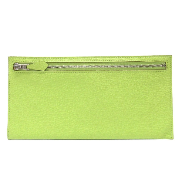 HERMES 愛馬仕 Lime 萊姆黃山羊皮拉鍊萬用袋 Zip Zap Long Wallet Pouch【BRAND OFF】