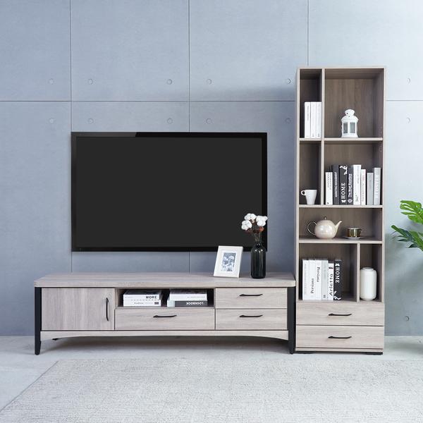 【時尚屋】[5V21]凱爾7.8尺L型電視收納櫃5V21-KR024+KR025-免運費/免組裝/電視櫃