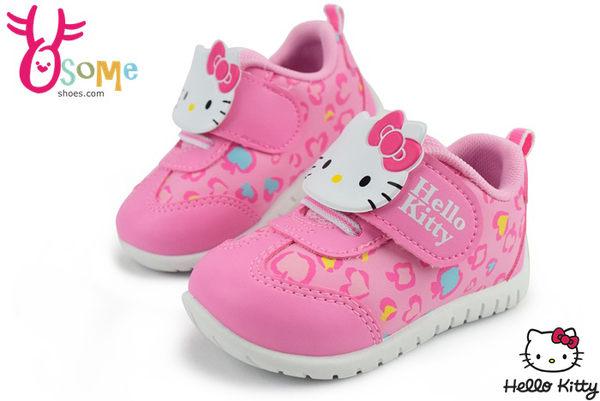 Hello kitty運動鞋 台灣製 中小童 豹紋輕量跑鞋G7926#粉紅◆OSOME奧森童鞋/小朋友