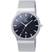 OBAKU 極簡時代優雅時尚腕錶(黑面白刻/大)