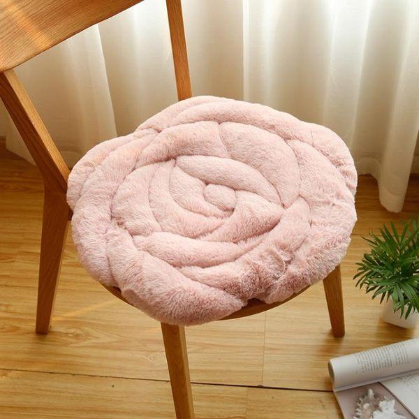 九只貓玫瑰花坐墊辦公室椅子墊秋冬季榻榻米毛絨加厚坐墊椅墊地墊【全館免運八八折柜惠】