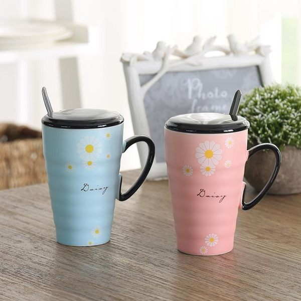 情侶對杯 情侶杯子陶瓷一對創意家用閨蜜水杯結婚生日禮物咖啡馬克杯帶蓋勺·樂享生活館
