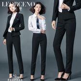 新款女士修身直筒西裝褲黑色正裝褲女士職業裝韓版長褲工作褲「夢娜麗莎精品館」